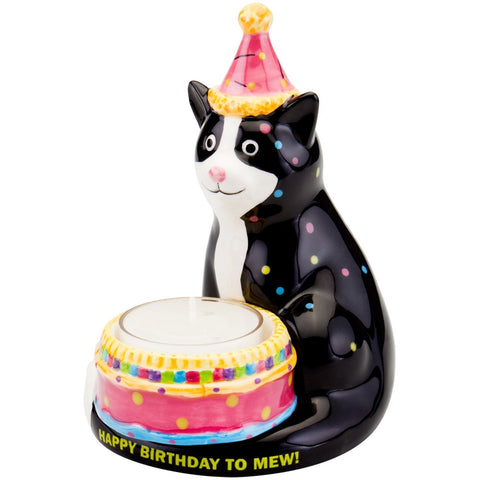 Cat With Birthday Hat Birthday Candle Holder