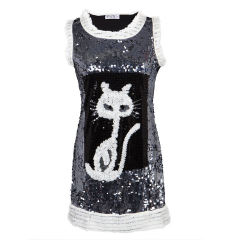 Cat Ripped Fabric White Sequined Women's Dress