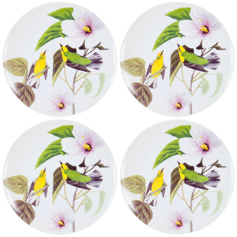 Winged Warbler In the Branches Set of Four Dessert Plates