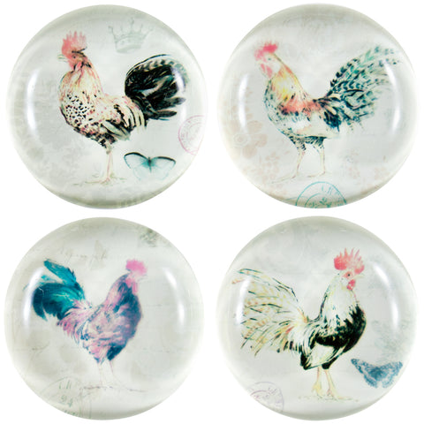 Roosters Standing Set Of Four Crystal Magnets