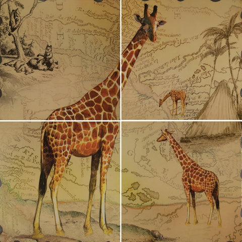 Giraffe Map Scene Four Piece Wall Mural