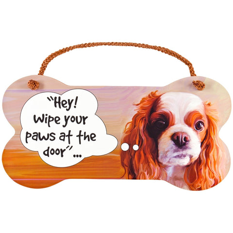 King Charles Spaniel Wipe Your Paws Wall Sign