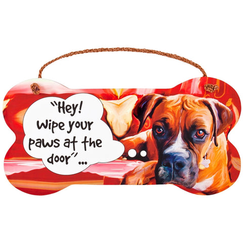 Boxer Wipe Your Paws Wall Sign