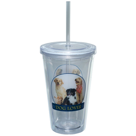 Dog Lover Portait Plastic Pint Cup With Straw