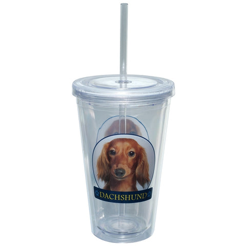 Dachshund Portait Plastic Pint Cup With Straw