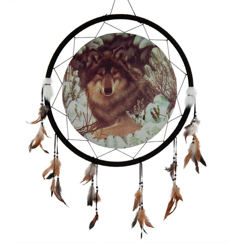 Wolf in Snow Large Dream Catcher