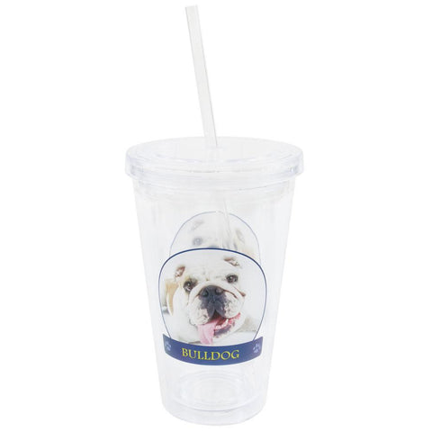 Bulldog Portrait Plastic Pint Cup With Straw