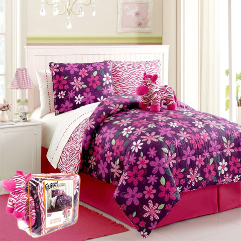 Floral Zebra Bed in a Bag 9-Piece Full Set