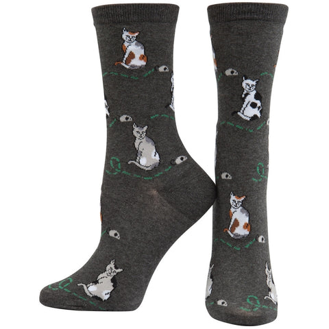 Cat And Mouse Charcoal Socks