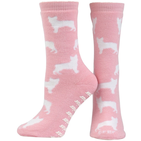 Boston Terrier Pink Girls Youth Slipper Socks