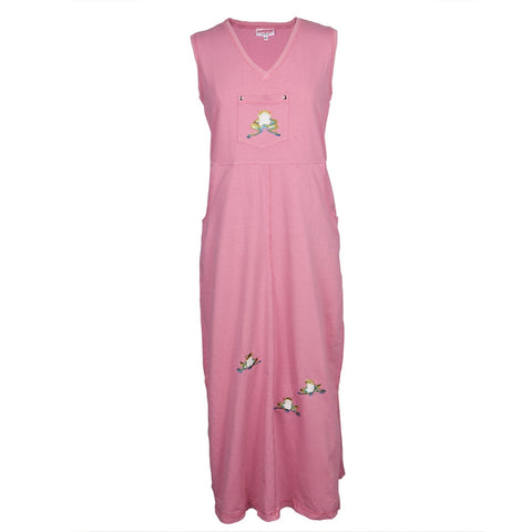 Tree Frogs Embroidered Pink Women's Dress