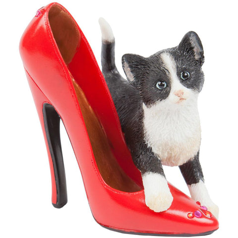Kitten Saffron With Red Stiletto Figurine