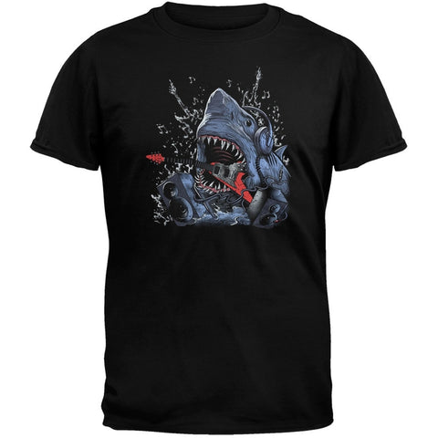 Jaws Of Life Shark Guitar Black T-Shirt