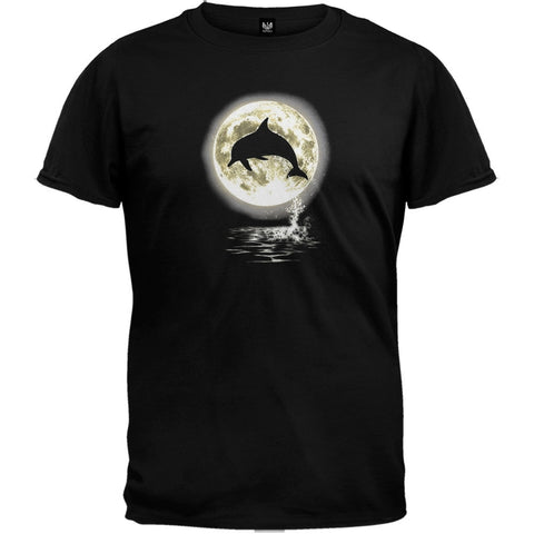 Dolphin Moon Black T-Shirt