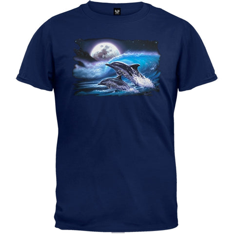 Moon Dolphins Navy T-Shirt
