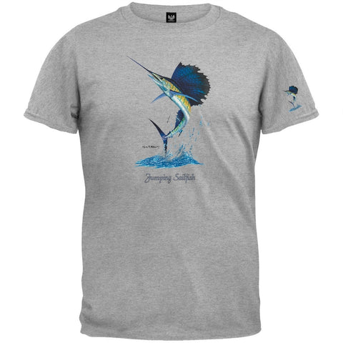 Jumping Sailfish Heather Gray T-Shirt
