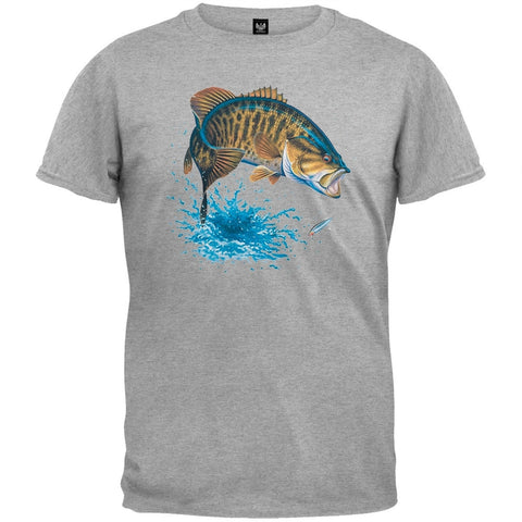 Small Mouth Bass Heather Gray T-Shirt