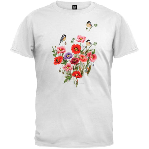 Chickadee Floral White T-Shirt