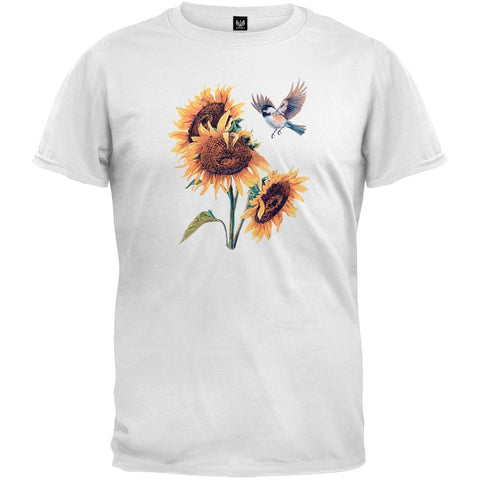Chickadee and Sunflower White T-Shirt