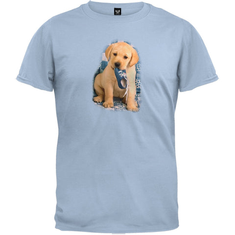 Lab Puppy With Shoe Light Blue T-Shirt
