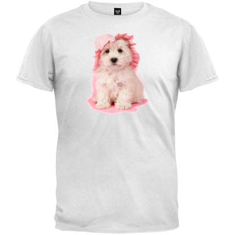 Pup In Pink White T-Shirt