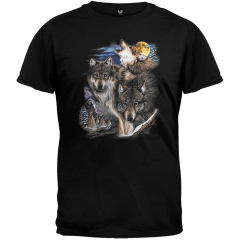 Wolves and Village Black T-Shirt