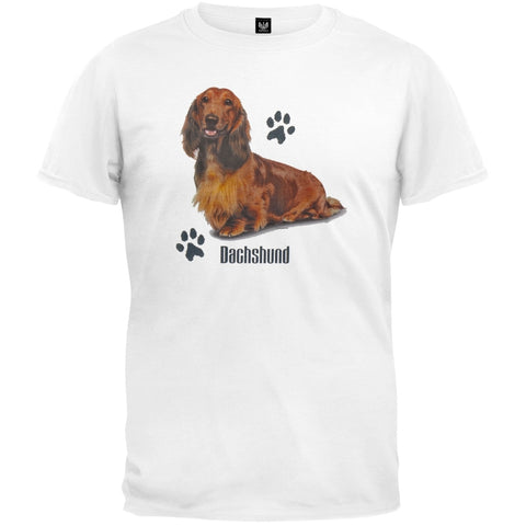 Long-Haired Dachshund Profile White T-Shirt