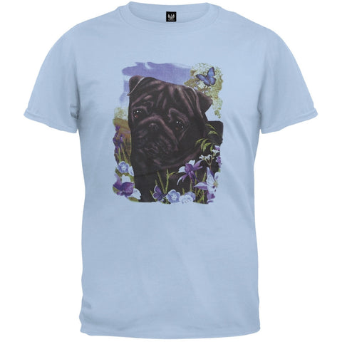 Black Pug Light Blue T-Shirt