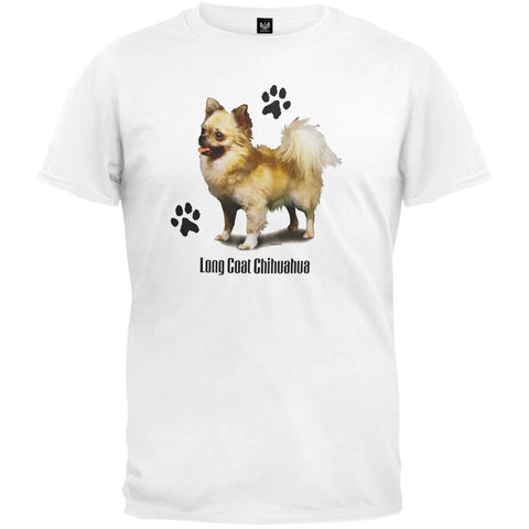Long Coat Chihuahua Profile White T-Shirt