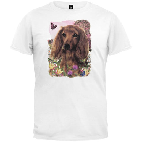 Longhaired Red Dachshund White T-Shirt
