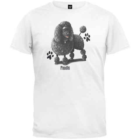 Black Poodle Profile White T-Shirt