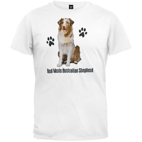 Red Merle Australian Shepherd Profile White T-Shirt