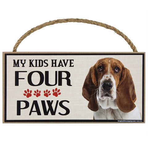 Basset Hound My Kids Have Four Paws Wood Sign