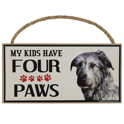 Irish Wolfhound My Kids Have Four Paws Wood Sign