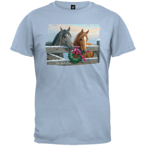 Pasture Gate Horses Light Blue T-Shirt