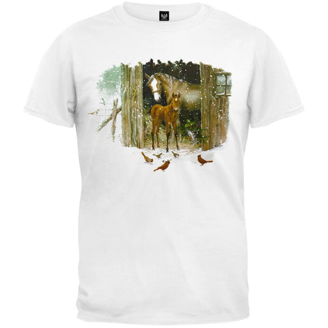 Horse Colt And Cardinal White T-Shirt