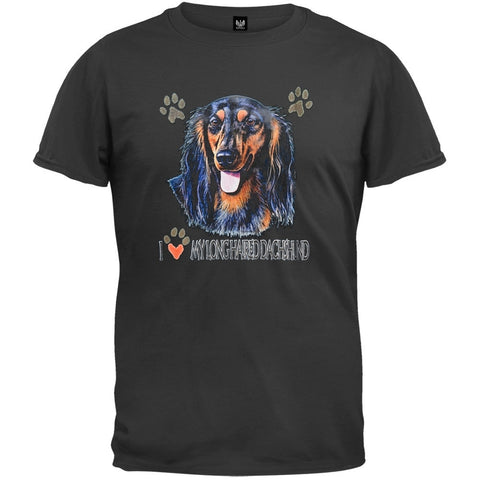 I Paw My Long Haired Dachshund Black T-Shirt