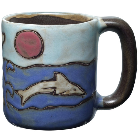 Dolphins Splashing Hand-Etched Mug
