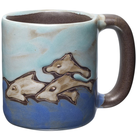Dolphins Swimming Hand-Etched Mug