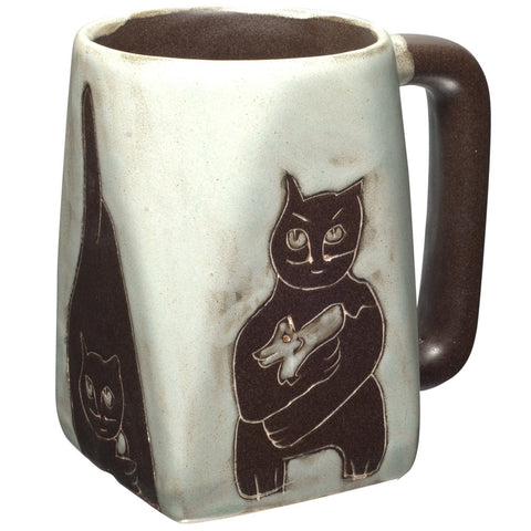 Cat Playing Square Bottom Mug