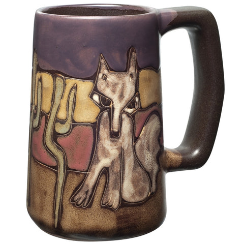 Coyote Sitting Hand-Etched Ceramic Stein