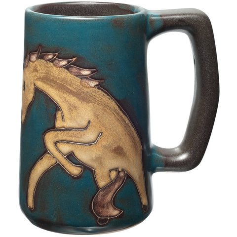 Horse Bucking Hand-Etched Ceramic Stein
