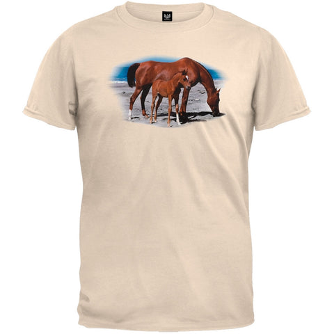Mare And Foal On Beach T-Shirt