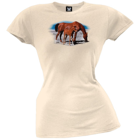 Mare And Foal On Beach Juniors T-Shirt