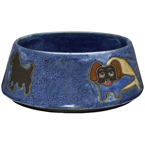 Dogs Playing Large Blue Doggie Dish