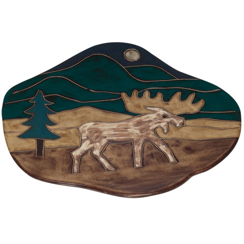 Moose at Night Wave Dinner Plate