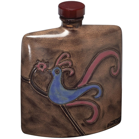 Hand-Etched Square Bird Decanter