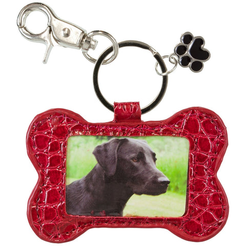 Dog Bone Photo Holder Keychain
