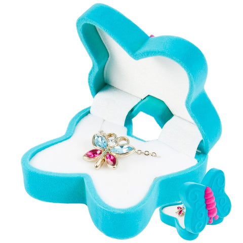Butterfly Pendant Necklace With Animal Box
