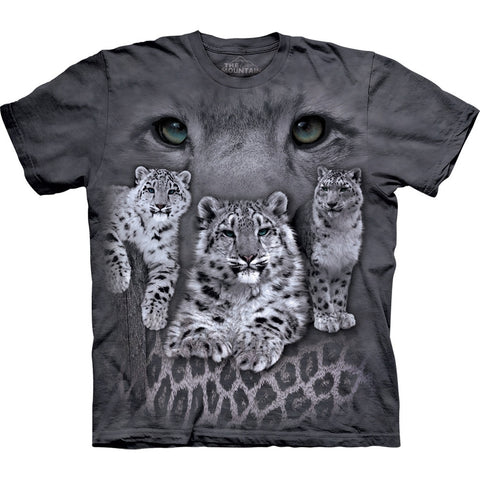 Snow Leopard Cubs and Mother's Eyes T-Shirt